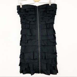 BCBGMaxAzria NWOT Ruffle Tiered Dress Sz 4 Black